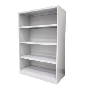 Steelco Open Metal Bookcase 1200H White Satin Steel Storage Solution Sydney