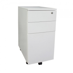 Steelco Slimline 300W Mobile Pedestal White Steel Storage Drawers