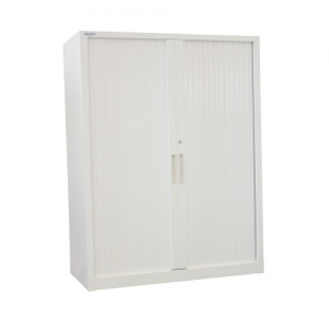 Steelco Tambour Cabinet 1200H x 900W Retractable Door White