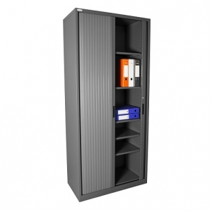 Steelco Tambour Door Cupboard 2000H x 900W Retractable Door Graphite Ripple
