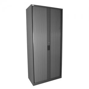 Steelco Tambour Door Cupboard 2000H Retractable Door Graphite Ripple
