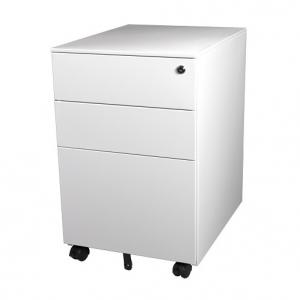 Steelco Trimline 390W Mobile White 3 Drawer Pedestal Furniture Sydney