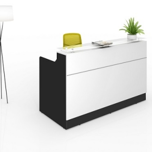 Classic Modern Reception Desk Black-White, Counter Glass Hob Top