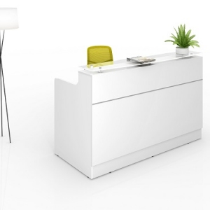 Classic Modern Reception Desk White, Counter Glass Hob Top