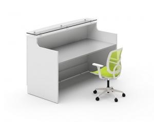 Classic Modern Reception Desk White, Counter Glass Hob Top