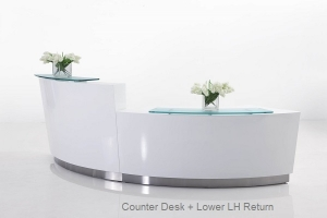 Evo Modern Circular Reception Desk White with High & Low Counter, Glass Hob Top