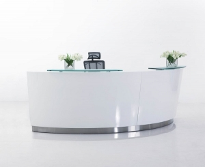 Evo Modern Designer Curved Reception Desk High Counter White with Glass Hob