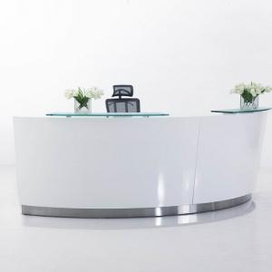 Evo Modern Designer Curved Reception Desk High Counter White with Glass Hob
