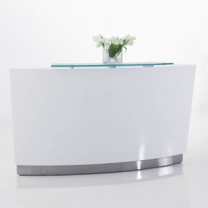 Evo Modern Curved Reception Desk White with High Counter, Glass Hob Top