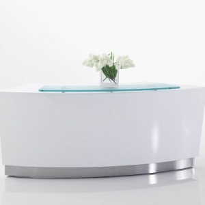Evo Modern Curved Reception Desk White with Low Counter, Glass Hob Top