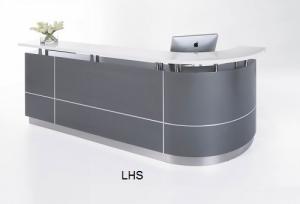 Exexutive Modern Reception J-Shape Desk Metallic Grey, Counter White Caesar Stone Hob Top