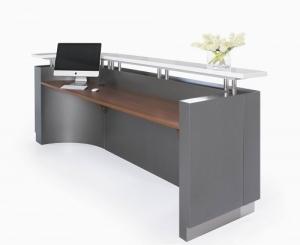 Exexutive Modern Reception J-Shape Desk Metallic Grey & Teak Table Top, Counter White Caesar Stone Hob Top