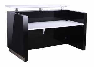 HUGO Modern Reception Desk Black, Table Top White with Counter Hob Top White Caesar Stone