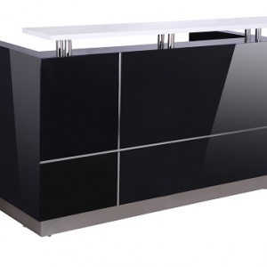 HUGO Modern Reception Desk Black, with Counter Hob Top White Caesar Stone