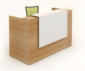 Sorrento Modern Reception Desk Beech, Counter Top in White