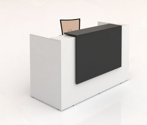 Sorrento Modern Reception Desk White, Counter Top in Black