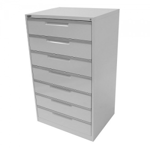 Steelco CD-DVD Multimedia Cabinet 7 Drawers Silver Grey