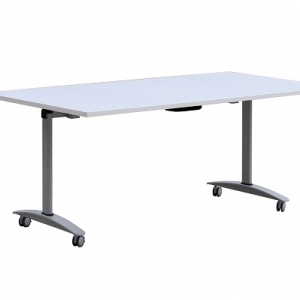 Flip Top Mobile Table Silver Grey Frame