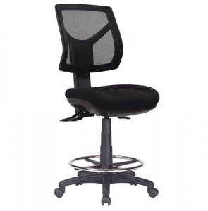 Rio Ergonomic Medium Mesh Back with Fabric Seat Office Chair, 3 Lever, Drafting with Footring
