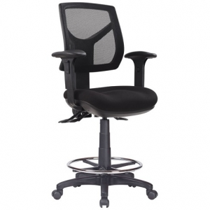 Rio Ergonomic Medium Mesh Back with Fabric Seat & Adjustable Arms Office Chair, 3 Lever, Drafting with Footring