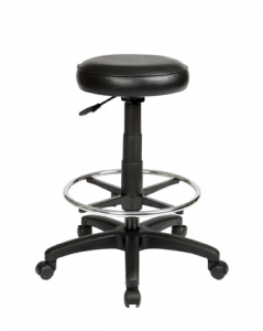 Utility Round Black Drafting Stool with Footring
