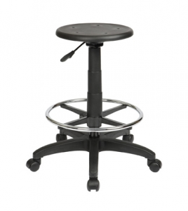 Lab PU Black Round Stool Gas Lift with Drafting & Footring