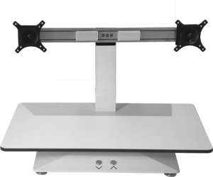 Standesk Electric Sit Stand Single Work Surface Double Arms White