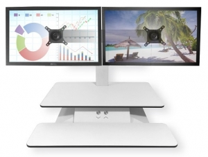 Standesk Sit Stand with Keyboard Double Arm White