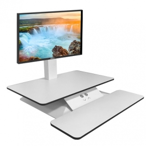 Standesk Sit Stand with Keyboard White