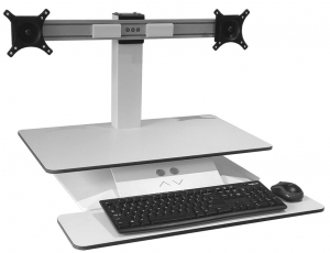 Standesk Sit Stand with Keyboard & Double Arms White