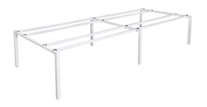 Runway double 4 person bench frame white