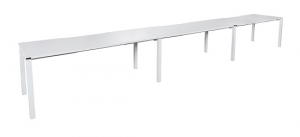 Runway single 3 person bench desk with top