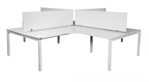 Runway workstation 4 way with white melamine screens