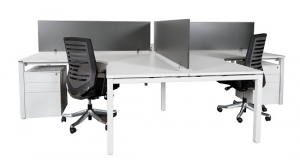 Runway workstation T-Shape 2 way with ironstone melamine screens