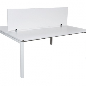 Runway workstation bench double 2 person white melamine screen