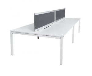 Runway workstation double 4 person back to back with charcoal fabric screens