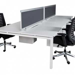 Runway workstation bench double 4 person charcoal fabric screens
