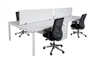 unway workstation bench double 4 person white melamine screen