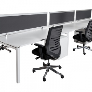 Runway workstation double 6 person charcoal fabric screens