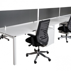 Runway workstation double 6 person ironstone melamine screens