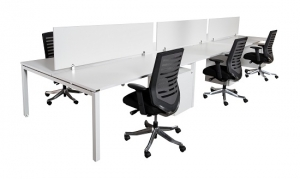 Runway workstation double 6 person white melamine screens