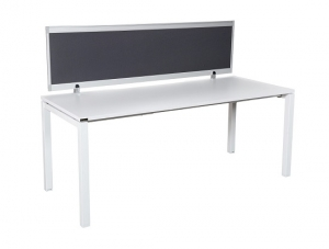 Runway workstation bench single 1 person charcoal fabric screen
