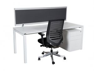 Runway workstation bench single 1 person with charcoal screen chair plus mobile