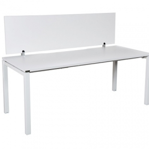 Runway workstation bench single 1 person with white melamine screen