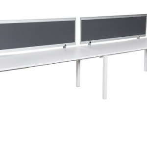 unway workstation bench single 2 person with charcoal fabric screens