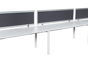 Runway workstation single 3 person with charcoal fabric screens