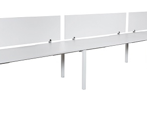 Runway workstation single 3 person with white melamine screens