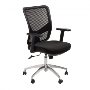 Brisbane Project Executive Mesh Back, Padded Fabric Seat Black Office Chair