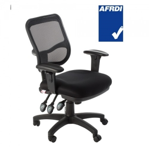 Eden AFRDI Approved Ergonomic Mesh Back 3 Lever Office Chair with Arms Black
