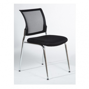 Mackay Client Mesh Back Padded Seat Black 4 Leg Chair